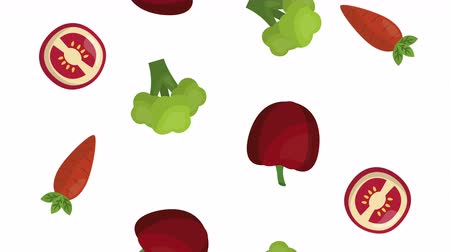 apple icon : fruits and vegetables healthy food ,4k video animation