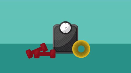 weighing machine : weight measure scale lifestyle and dumbbells ,4k video animation