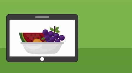 winogrona : tablet with fruits fresh healthy food ,4k video animation Wideo