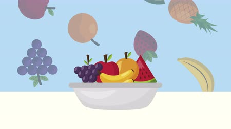 tray : fruits fresh healthy food ,4k video animation