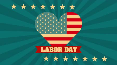 memorial day : labor day card with USA flag and heart love ,4k video animation