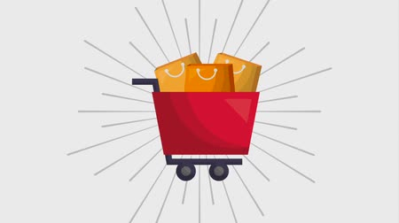 shopping cart : online shopping animation cart and bags ecommerce Stock Footage