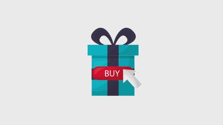 kursor : online shopping animation gift box click buy Wideo
