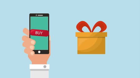 kártya : online shopping animation hand with smartphone gifts