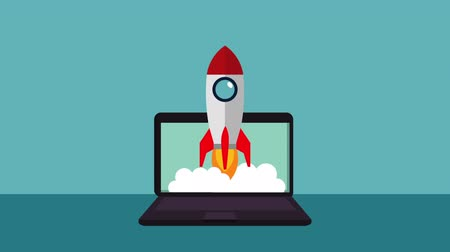 rocket launcher : finances and economy online with laptop ,hd video animation