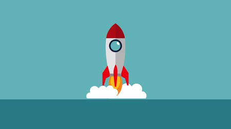 rocket launcher : rocket launcher start up animation ,hd video animation Stock Footage