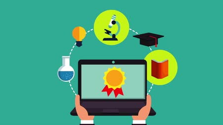 medal : education on line with laptop ,hd video animation