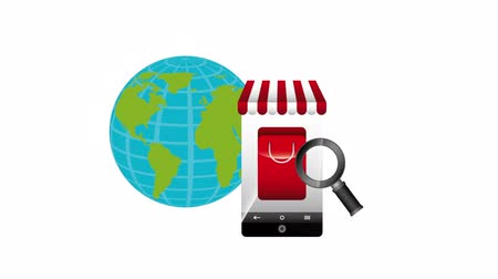 markt : e-commerce technologie met smartphone, hd video-animatie Stockvideo