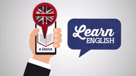 hand using smartphone with learn english ,hd video animation Wideo