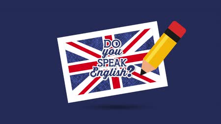 grafit : british flag and pencil learn english , hd video animation