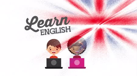 english class : couple characters with learn english ,hd video animation