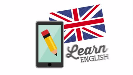 grafite : smartphone with learn english ,hd video animation Vídeos