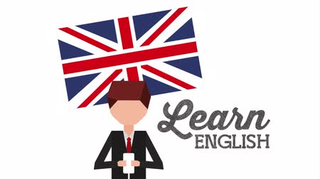 english class : man character with learn english ,hd video animation Stock Footage