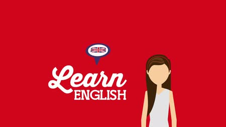 english class : woman character with learn english ,hd video animation Stock Footage