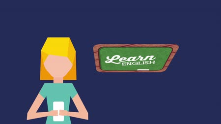 ellátás : woman character with learn english ,hd video animation Stock mozgókép