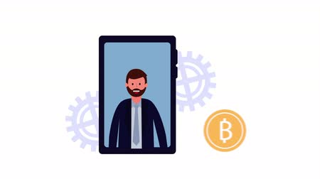 businessman worker with smartphone and bitcoin ,hd video animation