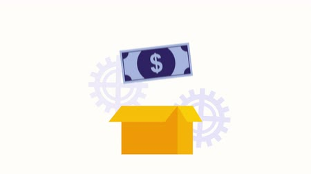 box carton with bill dollar money ,hd video animation Wideo