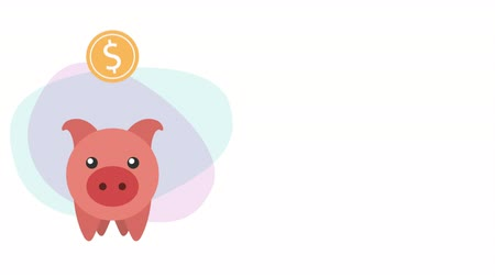 piggy savings with coin money dollar ,hd video animation Wideo