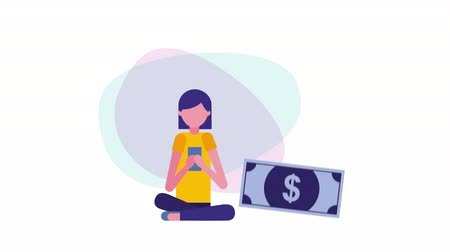 young businesswoman with smartphone and bills ,hd video animation