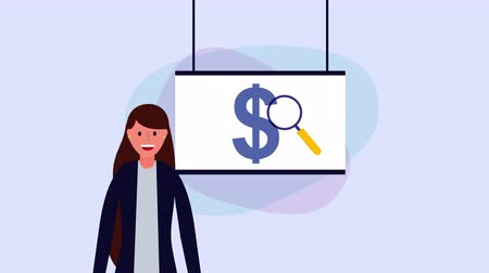 young businesswoman with paperboard and money ,hd video animation