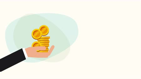 hand with coins money dollars ,hd video animation
