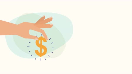 hand with money dollar symbol ,hd video animation