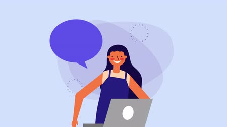 young woman with laptop and speech bubble ,hd video animation