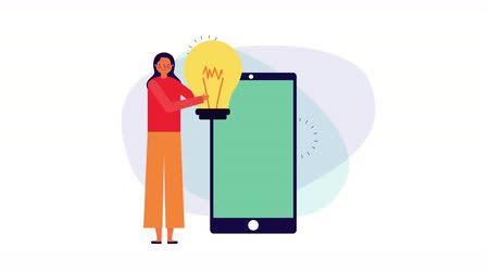 kreskówki : businesswoman with smartphone and bulb ,4k video animation