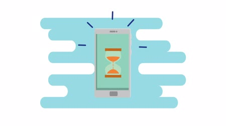 órák : smartphone technology with hourglass timer , hd video animation