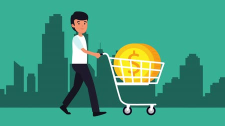 cent : businessman with coins money in cart shopping , hd video animation Stock Footage