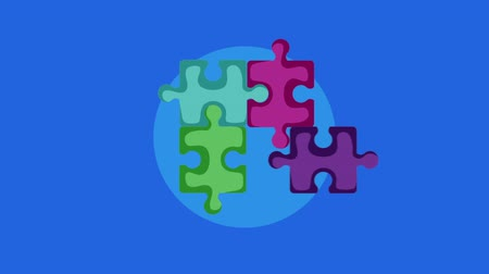 part of clip : puzzle game pieces solution , hd video animation Stock Footage