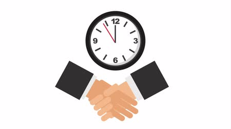 javasol : business handshake with watch clock ,hd video animation