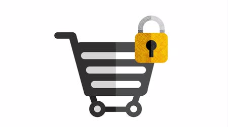 アンロック : shopping cart with padlock animation