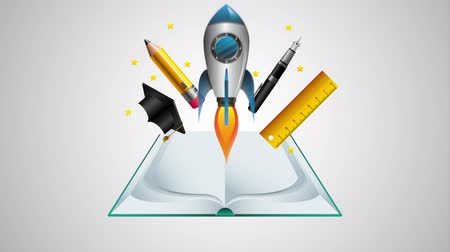 kalap : text book and rocket with education supplies ,hd video animation Stock mozgókép