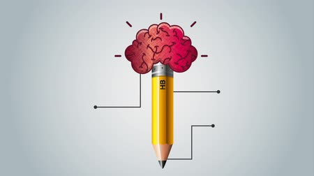 stationary : pencil with brain and statistics infographic ,hd video animation