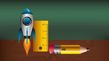 grafit : pencil with rocket and rule infographic animation ,hd video animation Stok Video