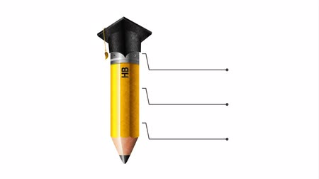 kalap : pencil with graduation hat and statistics infographic ,hd video animation Stock mozgókép