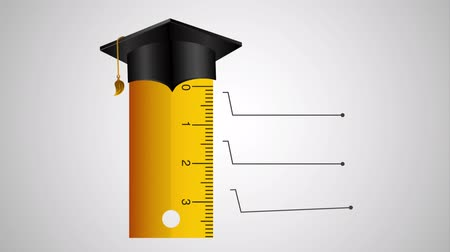 kalap : rule with graduation hat and statistics infographic ,hd video animation
