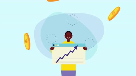 pictograma : afro businessman worker with coins money and statistics arrow ,hd video animation