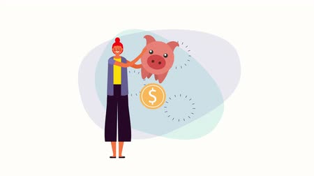 kassa : young businesswoman with piggy savings money ,4k video animation Stockvideo