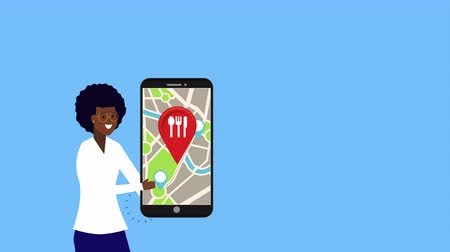 продавщица : afro businesswoman with smartphone and restaurant location , 4k video animation