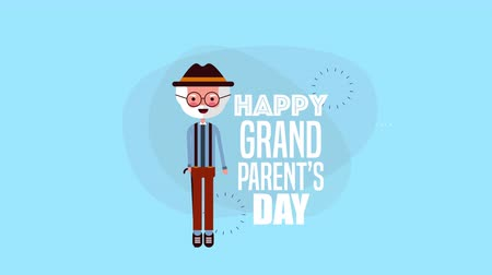 kreskówki : happy grandparents day card with grandfather ,4k video animation