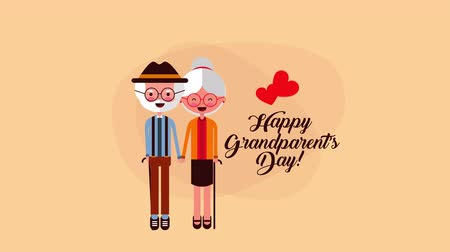 büyükbaba : happy grandparents day card with couple lovers ,4k video animation Stok Video