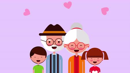 idoso : happy grandparents day card with family members ,4k video animation Vídeos