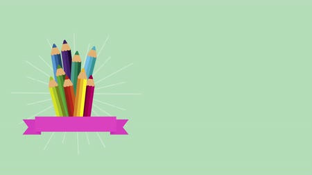 ansiklopedi : school supplies set icons ,4k video animation