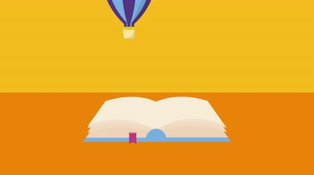 clipe de papel : text book with balloon air hot flying ,4k video animation