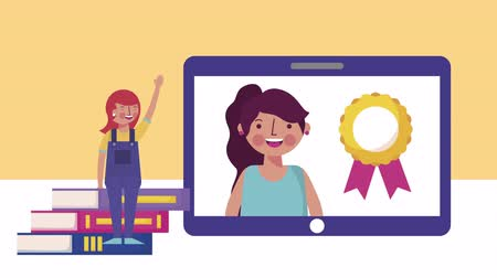 medaille : little students girls with tablet elearning characters,4k video animation