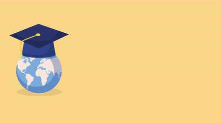planet : education and learn earth planet with graduation hat ,4k video animation