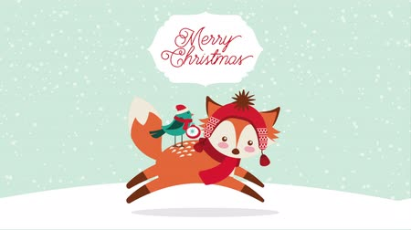 С Рождеством : happy merry christmas card with cute fox ,hd video animation