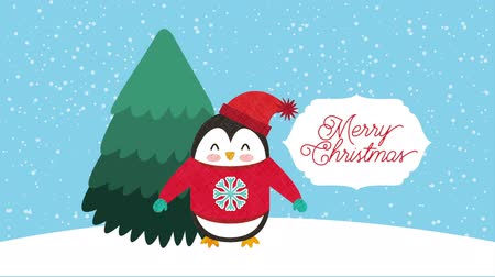 pinguim : happy merry christmas card with cute penguin ,hd video animation